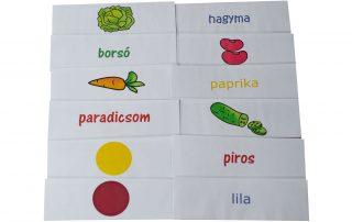 zöldség szókártya