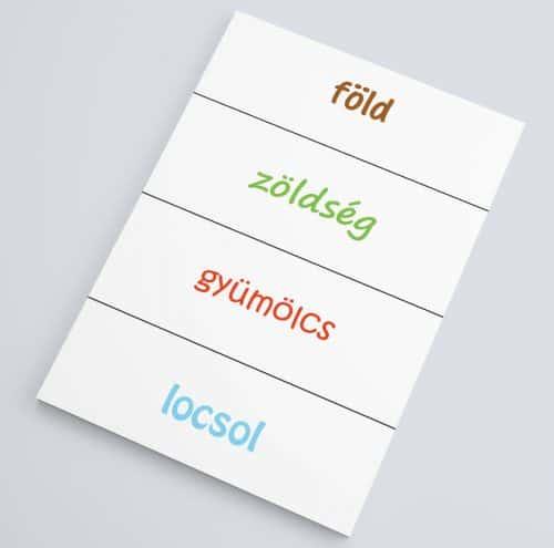 tematikus szókártyák